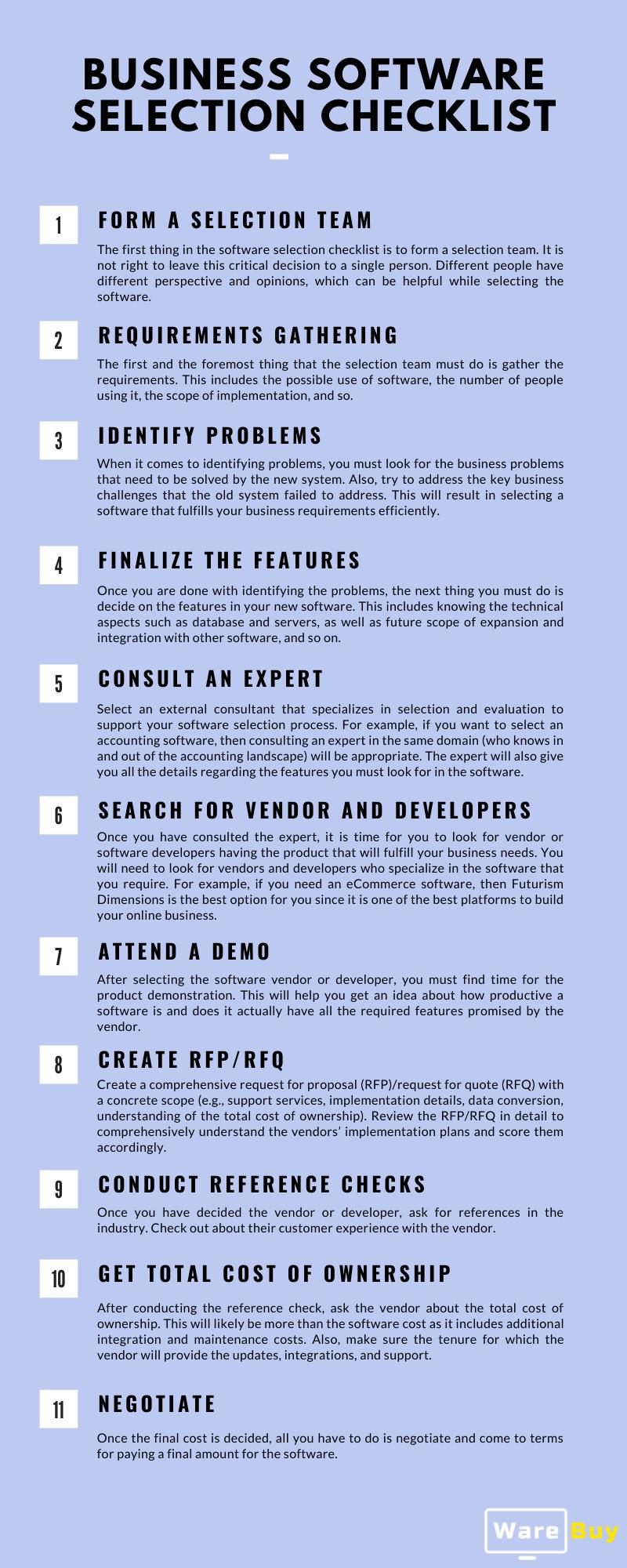 software selection checklist